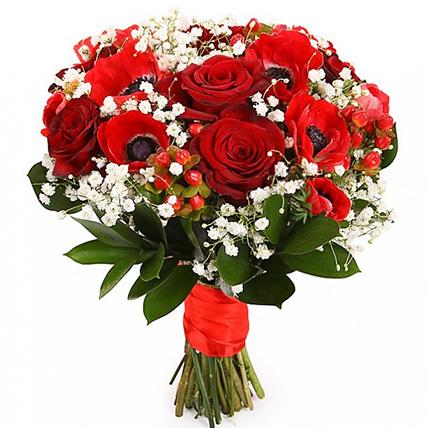 Свадебный букет невесты из роз и анемонов №104