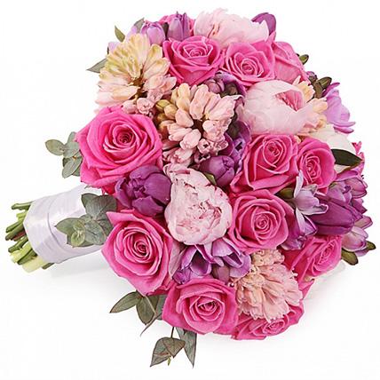 Букет из роз с тюльпанами и гиацинтами №107