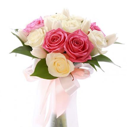 Букет с розами и тюльпанами №110
