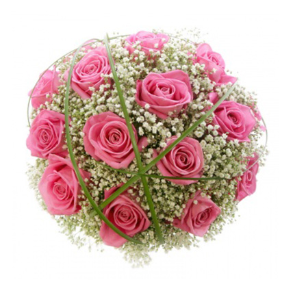 Свадебный букет невесты из розовых роз №114
