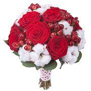 Свадебный букет невесты с красными розами №116