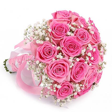 Свадебный букет невесты из розовых роз №117
