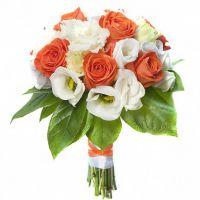 Свадебный букет невесты из роз и эустомы №128