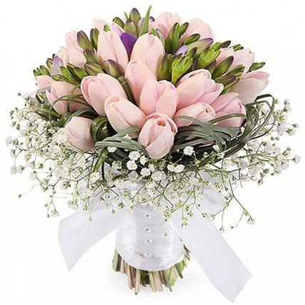 Свадебный букет невесты из тюльпанов и фрезии №135