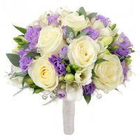 Свадебный букет невесты с эустомой и розами №137