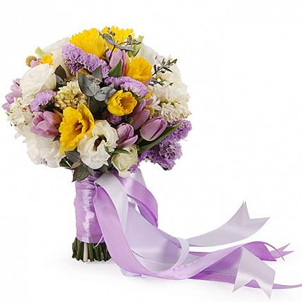 Свадебный букет невесты из лизиантусов и тюльпанов №139
