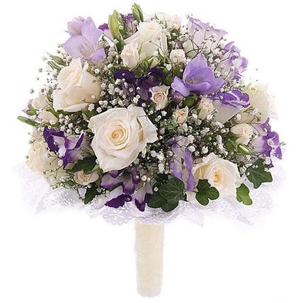Свадебный букет невесты из роз и эустомы №143