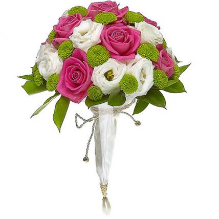 Свадебный букет невесты из лизиантусов и роз №145