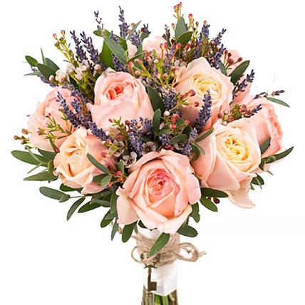 Букет с коралловыми пионовидными розами №153