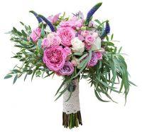 Букет с розовыми пионовидными розами №156