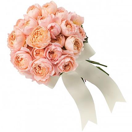 Букет с персиковыми пионовидными розами №157