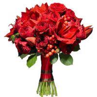 Букет с красными пионовидными розами и амариллисом №158