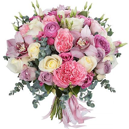 Букет с орхидеями и розами «Нимфа»