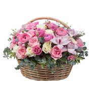 Корзина с орхидеями и розами «Нимфа»