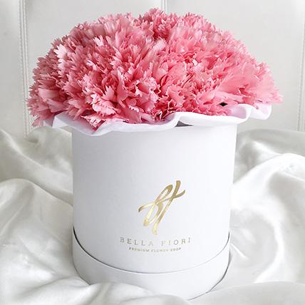 Розовый диантус в белой коробке Small