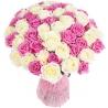 51 роза: белые + розовые