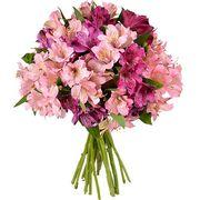 Букет с розовой альстромерией «Лиловый шар»