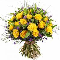 Букет из альстромерий и желтых роз «Летняя прогулка»