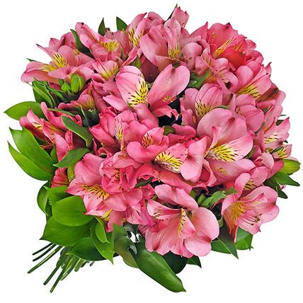Букет с розовой альстромерией «Розовый фламинго»
