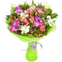 Букет с альстромерией и орхидеями «Птица дивная»