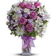 Букет с альстромерией и розами «Небесная лазурь»