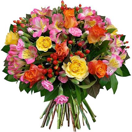 Букет с альстромерией и розами «Райский сад»