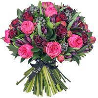 Букет с розами и тюльпанами «Трюфель»