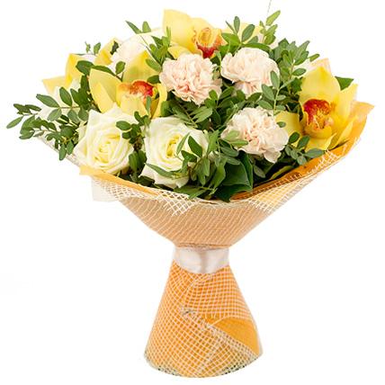 Букет с розами и орхидеей «Солнечный луч»