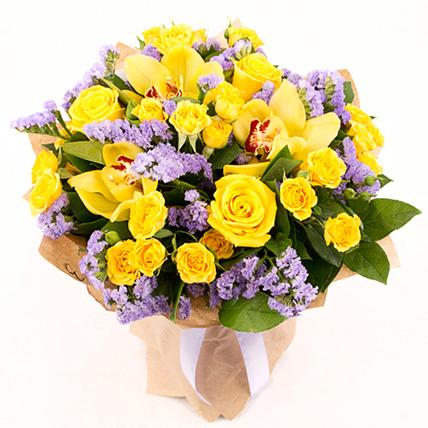 Букет с розами и орхидеей «Счастливые дни»