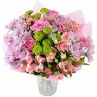 Букет с хризантемами «Ласточка»