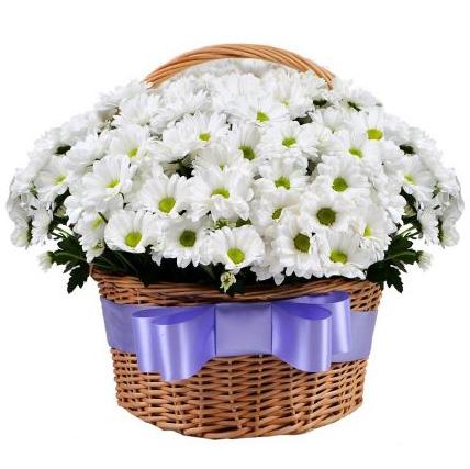 Корзина с хризантемами «Лукошко»