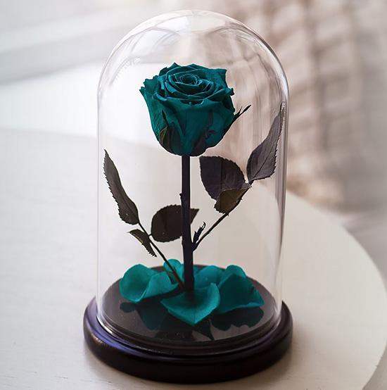 Вечная роза в стеклянной колбе «аквамарин»