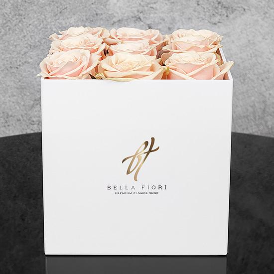 Кремовые розы в белой коробке GlassBox Small