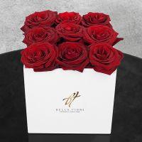 Красные розы в белой коробке GlassBox Small