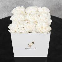 Белый диантус в белой коробке GlassBox Small