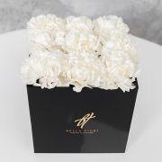 Белый диантус в черной коробке GlassBox Small