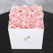 Розовый диантус в белой коробке GlassBox Small