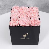 Розовый диантус в черной коробке GlassBox Small