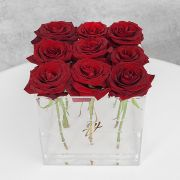 Красные розы в прозрачной коробке GlassBox Small