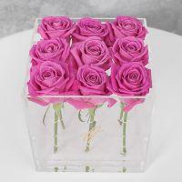 Розовые розы в прозрачной коробке GlassBox Small