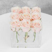 Кремовые розы в прозрачной коробке GlassBox Small