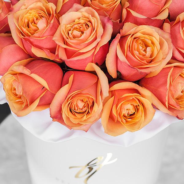 Розы «Черри бренди» в белой коробке Royal