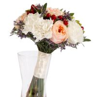 Свадебный букет невесты с диантусом и фрезией №204