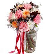 Свадебный букет невесты с пионовидными розами №205