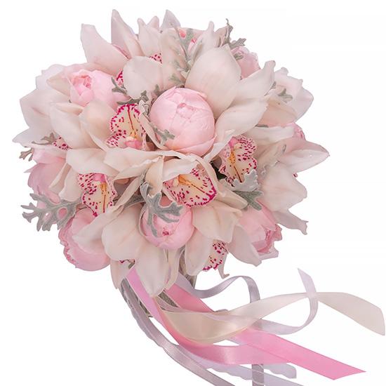 Свадебный букет невесты с орхидеями и пионами №211