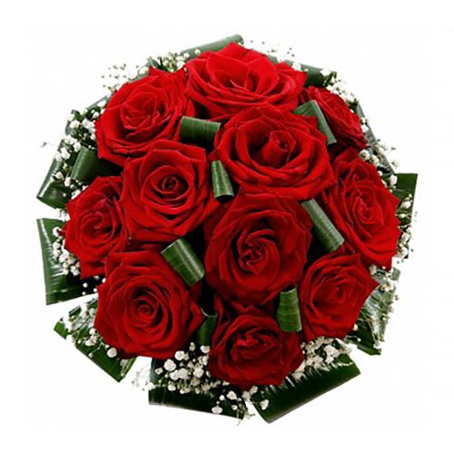 Свадебный букет невесты с красными розами №213