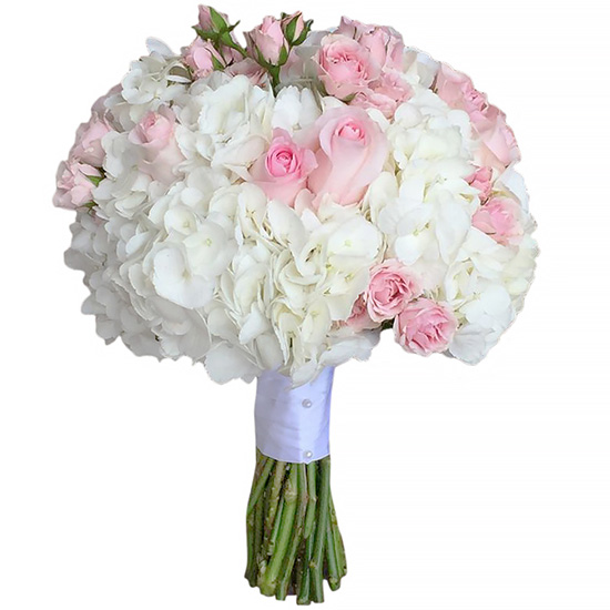 Свадебный букет невесты с гортензией и розами №216