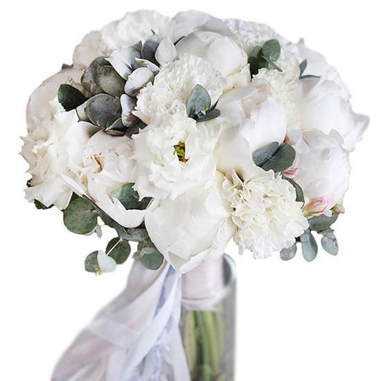 Свадебный букет невесты с пионами и эустомами №221