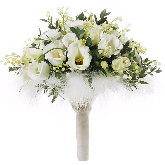 Свадебный букет невесты эустомами и ландышами №223