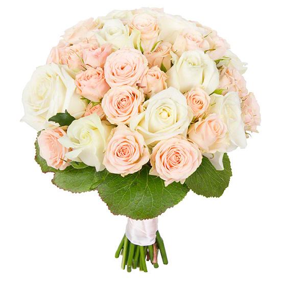 Свадебный букет невесты с кустовыми и одноголовыми розами №230